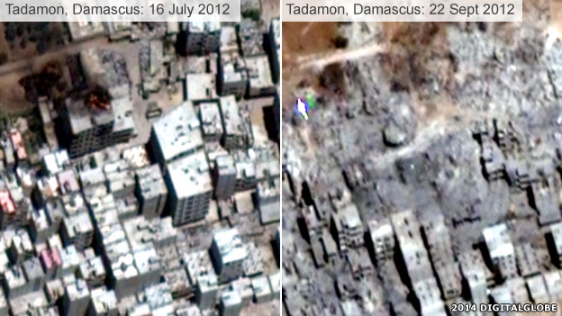 Destruction in Tadamon, Damascus