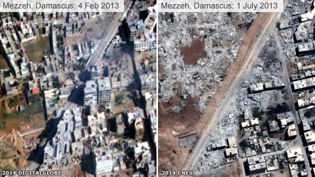 Destruction in Mezzeh, Damascus