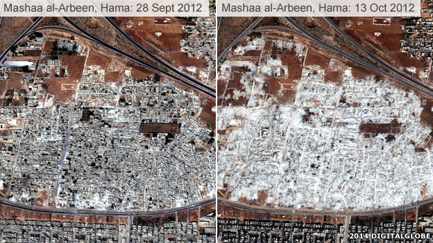 Destruction in Mashaa al-Arbeen, Hama
