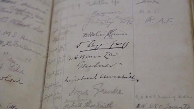 Signatures on the cafe's guest book