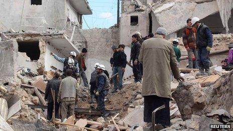 Bombed scene in Aleppo's Maadi neighbourhood on 29 January 2014
