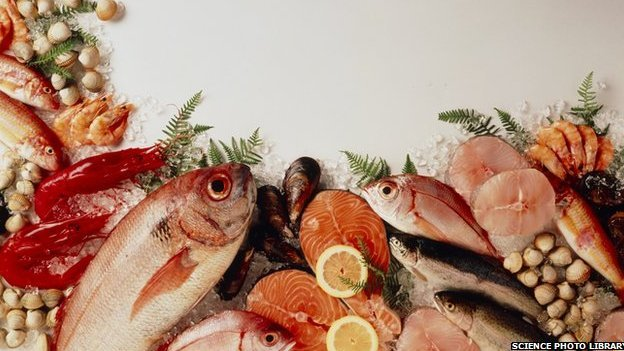 Picture of fish, nuts and other foodstuffs