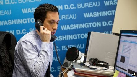 NY1 political reporter Michael Scotto works in his office in Washington DC on 29 January 2014