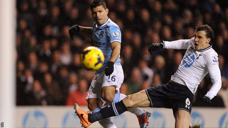 Sergio Aguero in action against Spurs