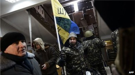 Protesters in an agriculture ministry buildings in Kiev (29 Jan 2014)