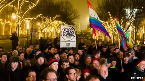 Protesters in Berlin on 12 December 2013 call on Russia to lift laws banning promotion of homosexuality