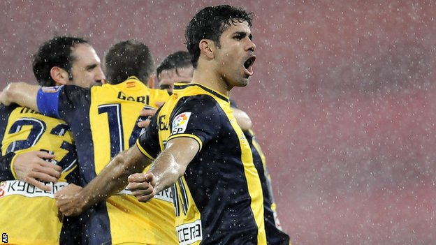 Atletico Madrid striker Diego Costa celebrates against Athletic Bilbao