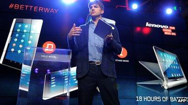 Lenovo tablets being displayed
