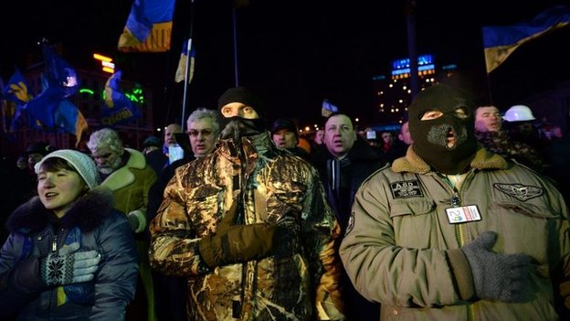 Protesters in Independence Square in Kiev, 30 Jan