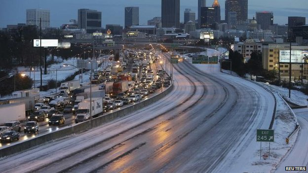 Atlanta highway in ice and snow, 29 Jan