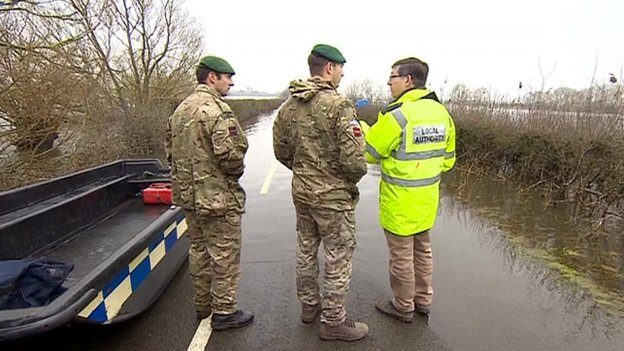 Military planners assess the flooding situation in Somerset