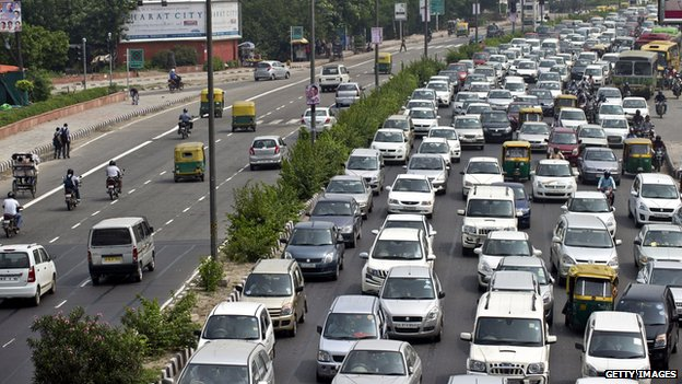 Traffic jam in New Delhi, India