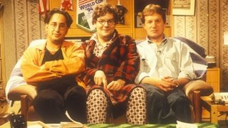David Baddiel, Angus Loughran (aka Statto) and Frank Skinner presented the Fantasy Football show