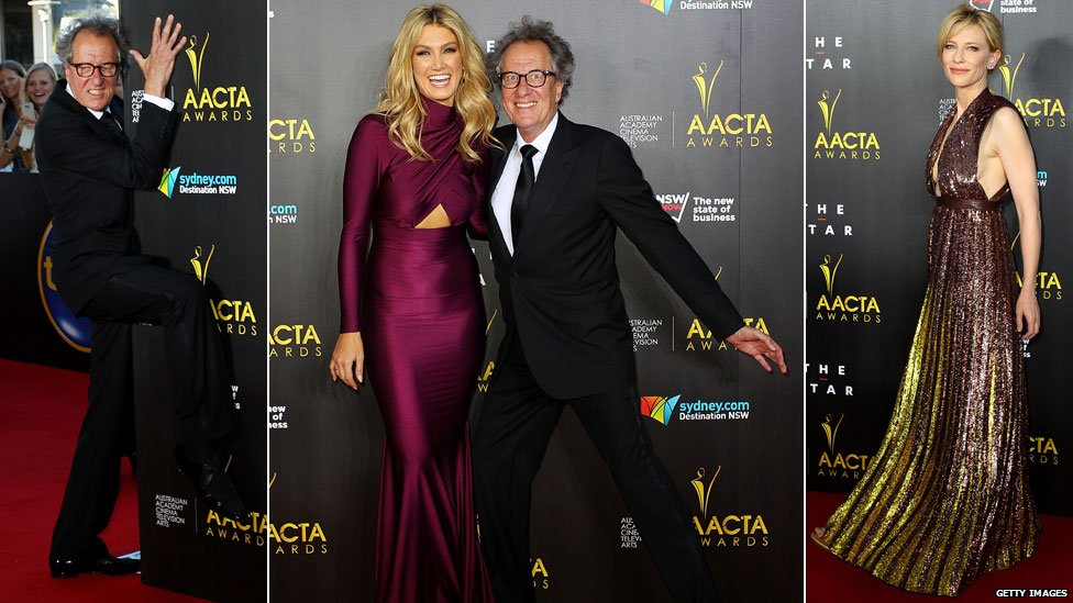 Geoffrey Rush, Delta Goodrem and Cate Blanchett at the Aacta Awards in Sydney