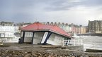 Damaged shelter on the seafront at Aberystwyth