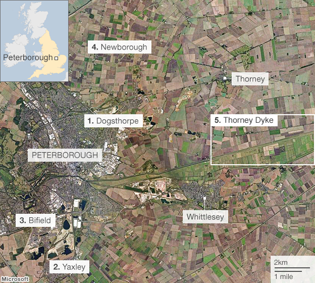 Map of the Peterborough area where Joanna Dennehy committed three murders in March 2013