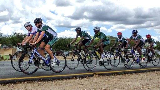Mark Beaumont (front left) and Dan Craven (front right) enjoying a bike ride in Namibia