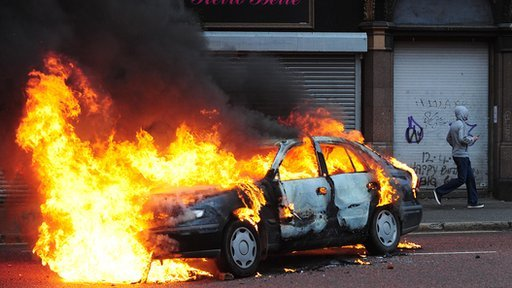 Car on fire in Belfast city centre