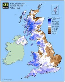 Met Office graph showing the actual rainfall for January 2013