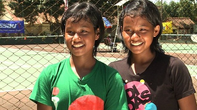 Young Indonesian tennis playing twins Fitriani Sabatini and Fitriana Sabrina Mastuti