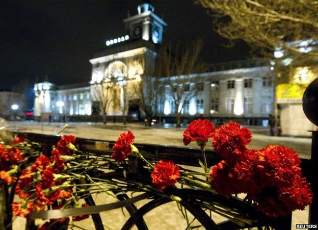 Flowers left outside Volgograd railway station after the bomb attack, 31 December 2013