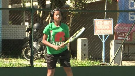 Young Indonesian tennis player Fitriani Sabatini
