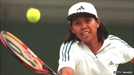 Yayuk Basuki of Indonesia in action at Wimbledon in the late 1990s