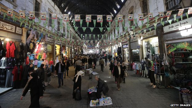 Street scene in Damascus city centre