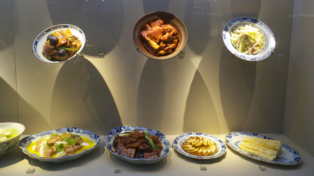 Dishes on display in Hangzhou museum
