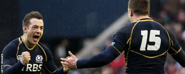 Scotland scrum-half Greig Laidlaw celebrates with full-back Stuart Hogg