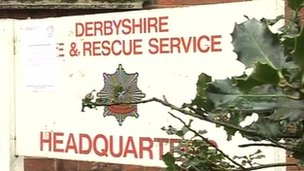 Derbyshire fire service sign