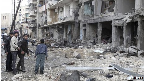 Scene of reported air strike in Aleppo (30/01/14)