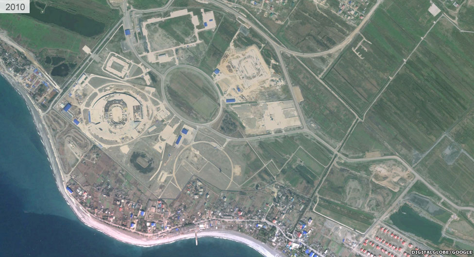 Satellite view of Sochi stadium area 2010