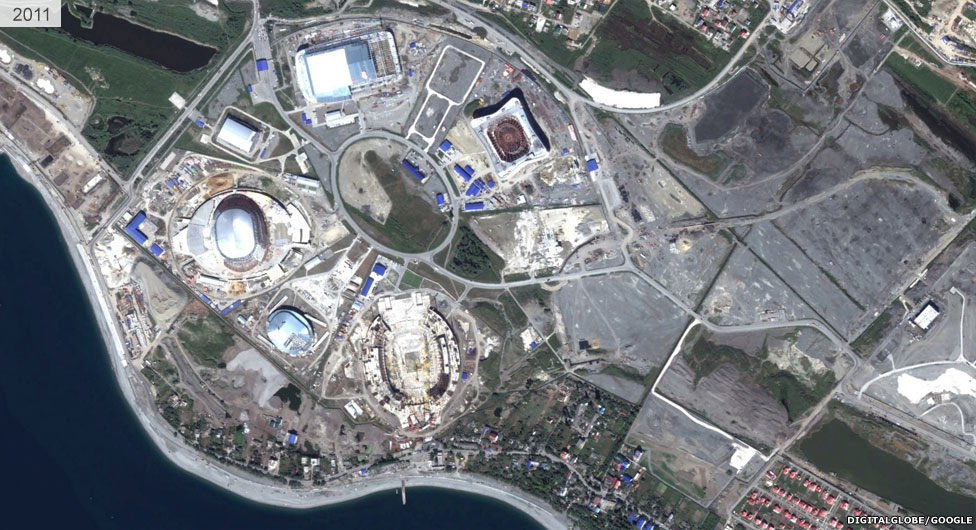 Satellite view of Sochi stadium area 2011