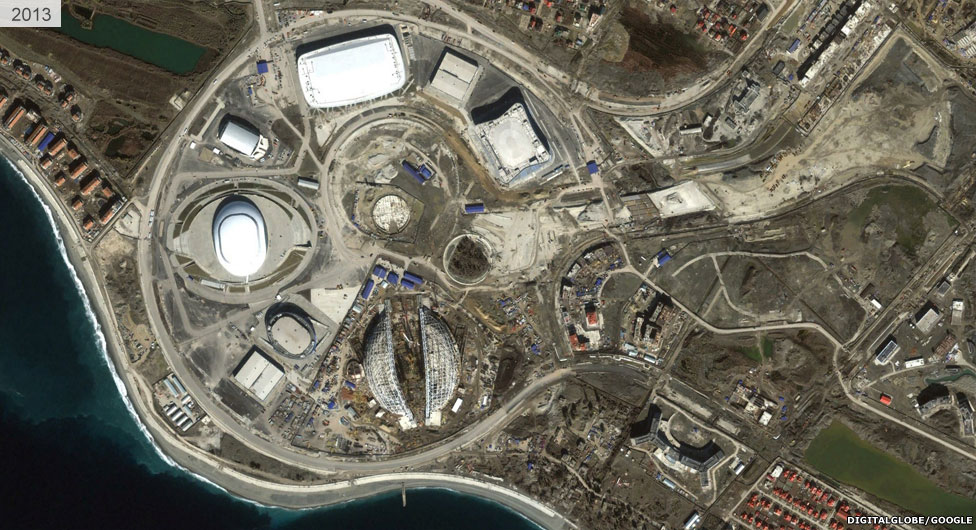 Satellite view of Sochi stadium area 2013