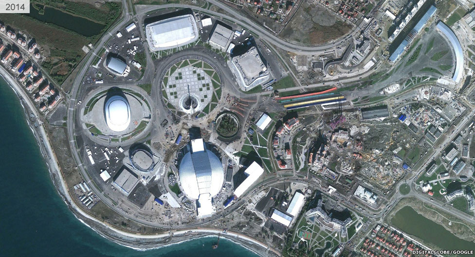 Satellite view of Sochi stadium area 2014