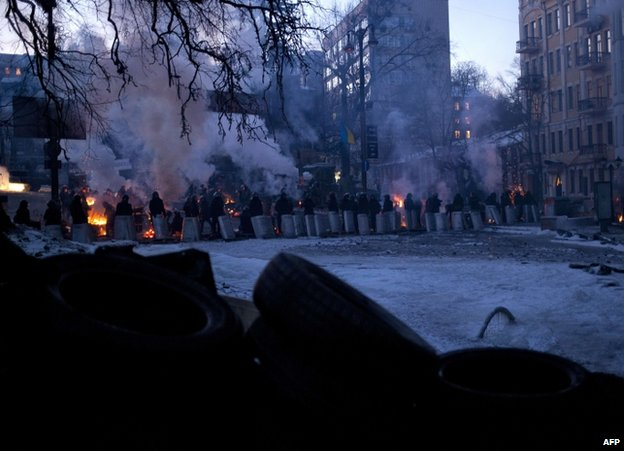 Riot police face protesters in Kiev, 31 January
