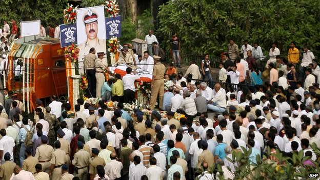 funeral procession of Indian Anti-Terrorism Squad (ATS) chief, Hemant Karkare in Mumbai on November 29, 2008. Karkare was killed by militants  near Cama Hospital