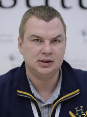 Dmytro Bulatov at a news conference in Kiev, 13 January