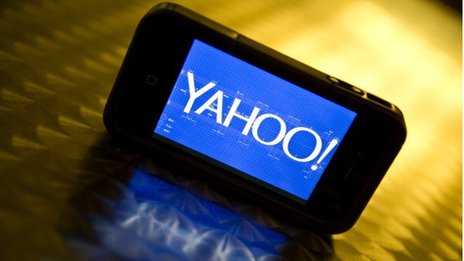 Yahoo logo on a smartphone