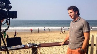 Mark Beaumont filming on location in Sierra Leone