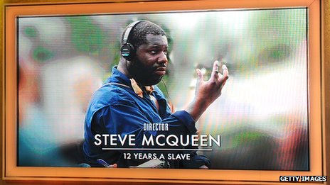 Steve McQueen on screen during the Oscar nominations announcement