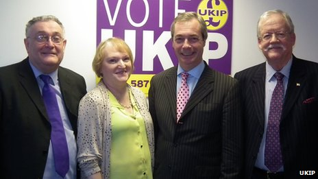 (Left to right) David Parsons, Elizabeth Parsons, UKIP leader Nigel Farage and East Midlands MEP Roger Helmer
