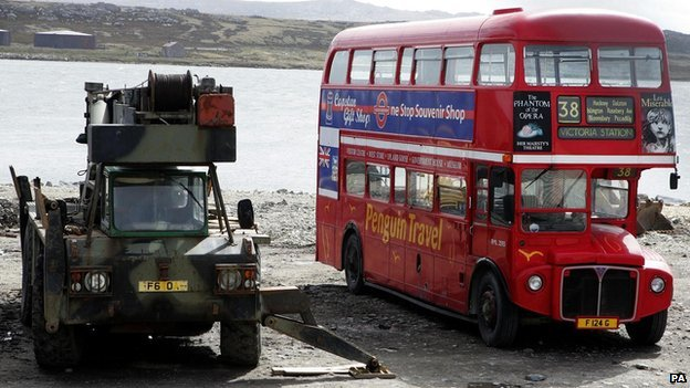A red bus in the Falklands