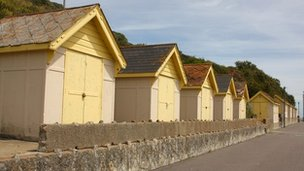 Beach huts in Folkestone