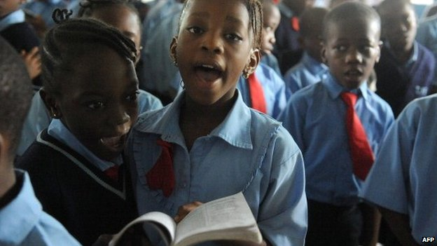 Pupils at a private school in Lagos, Nigeria