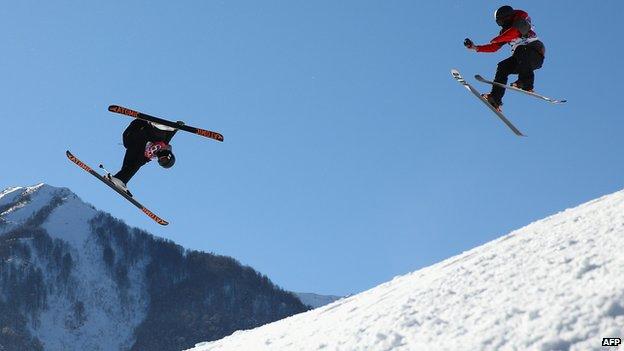 Skiers in Rosa Khutor
