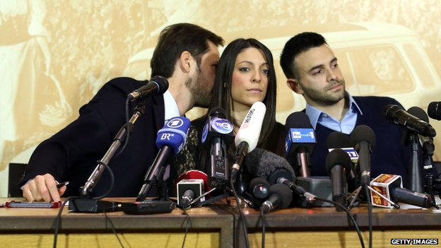 Meredith Kercher's brother (right) and sister Stephanie at a press conference