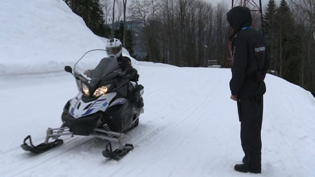 Police on skidoos in Sochi
