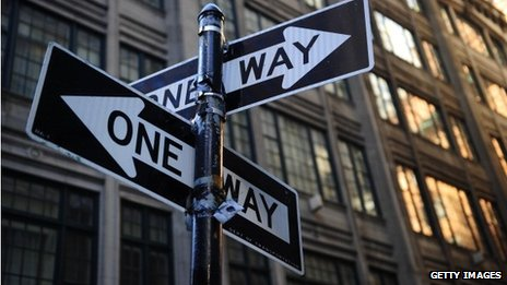 One way street signs in New York